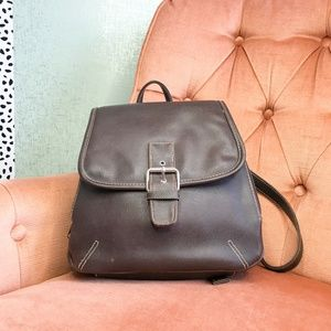 Handbags - Multi-Compartment Brown Faux Leather Backpack